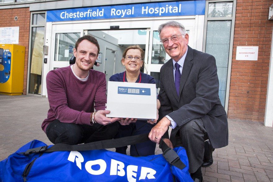 Rober Mattress presentation to Chesterfield Royal Hospital, pictured with Victoria Warner (Tissue Viability Specialist Nurse) are Rober's Director Graham Ball and Engineer Ben Smith